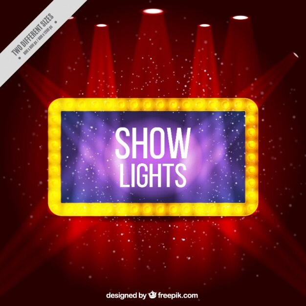 Красный блестящий фон с прожекторами Бесплатные векторы