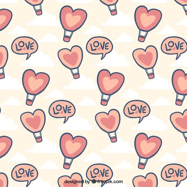 バレンタインデーのための熱気球と手描きのパターン 無料ベクター