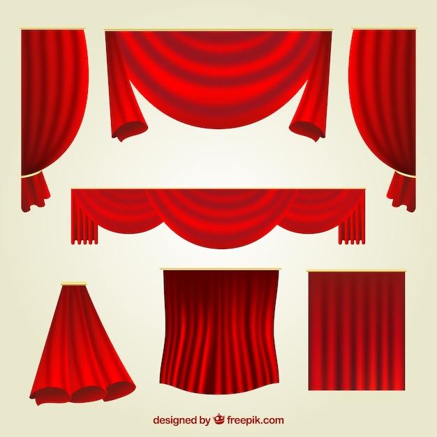 異なるデザインの赤いカーテンの素晴らしいセット ベクター画像 無料ダウンロード
