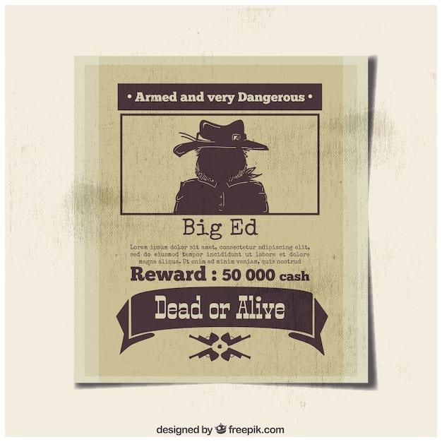 Плакат опасного преступника с наградой Бесплатные векторы