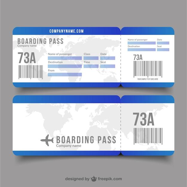 装飾的な世界地図フラット搭乗券 無料ベクター