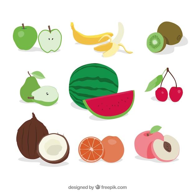 おいしい果物のセット 無料ベクター