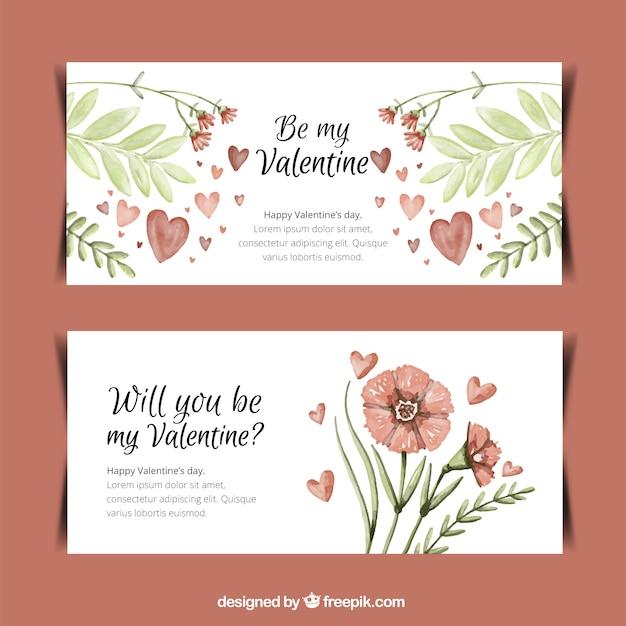 バレンタインの花と葉の装飾バナー 無料ベクター