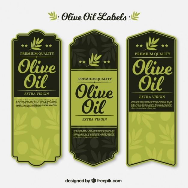 Урожай оливковые этикетки нефти в зеленых тонах Бесплатные векторы