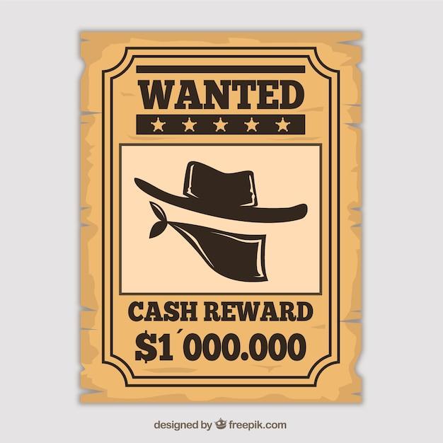 Западный плакат, чтобы найти преступника Бесплатные векторы