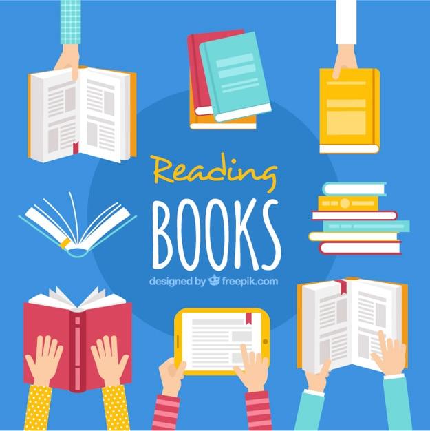 本を保持する手の平らな背景 無料ベクター