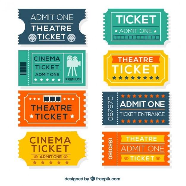 Красочные билеты кино в плоский дизайн Бесплатные векторы