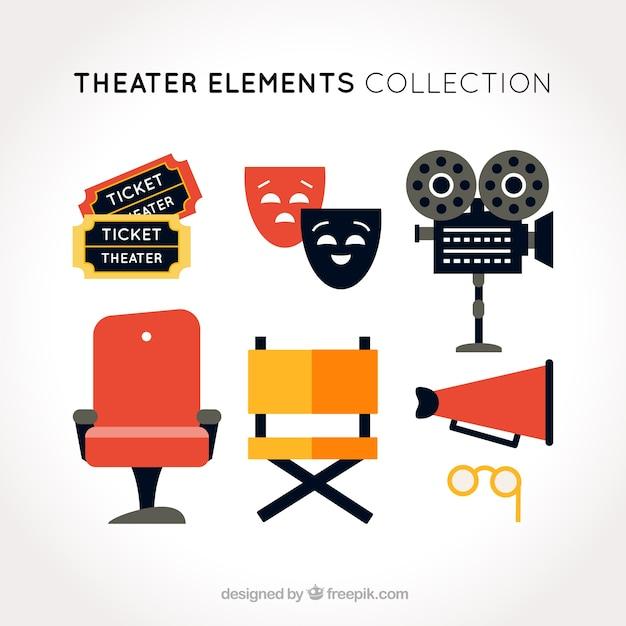 フラット劇場オブジェクトのセット 無料ベクター