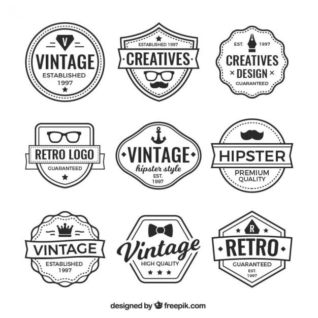 Логотипы и старинные значки коллекции Бесплатные векторы