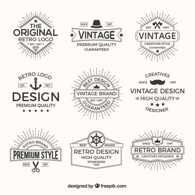 Логотипы пакет в стиле ретро Бесплатные векторы
