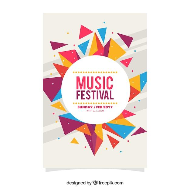Красочный геометрический фестиваль фестиваль плаката Бесплатные векторы