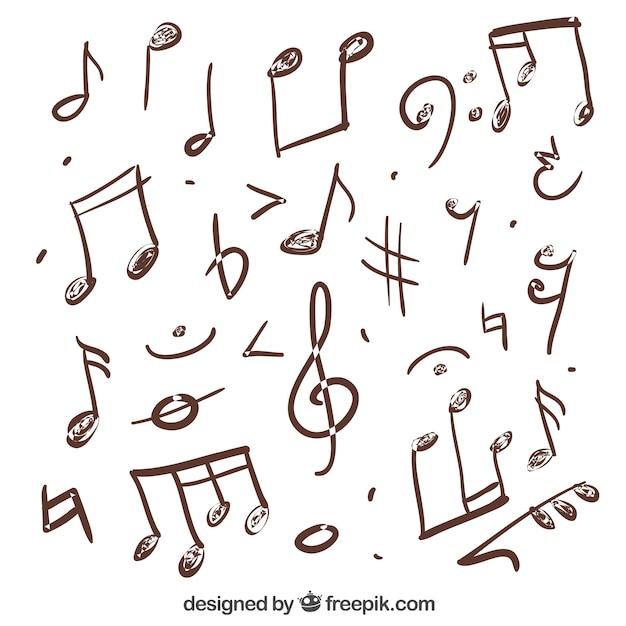 手描き音符の様々な ベクター画像 無料ダウンロード