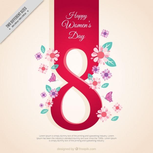 Женщина день фон с номером восемь и цветочные детали Бесплатные векторы