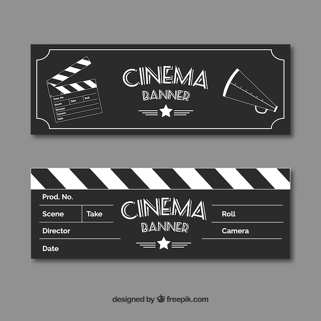 ヴィンテージスタイルの要素のスケッチと映画のバナー 無料ベクター