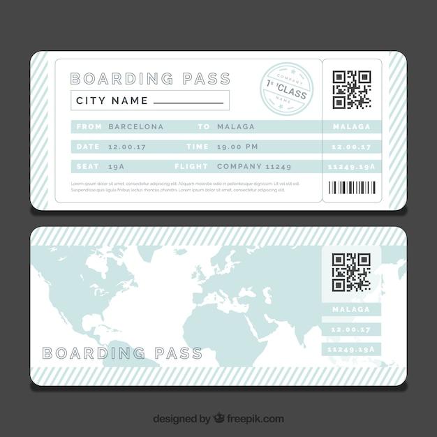 青い世界地図付きストライプ搭乗券テンプレート 無料ベクター
