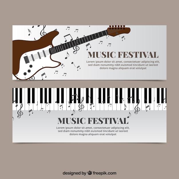 ピアノとエレキギターと音楽のバナー 無料ベクター