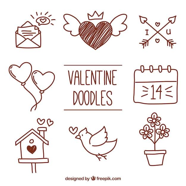 設定バレンタイン要素の落書き 無料ベクター
