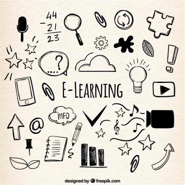 手描きの様々なアイテムを使用したオンライン学習の背景 無料ベクター