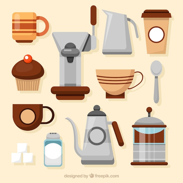 コーヒーショップの道具のセット 無料ベクター