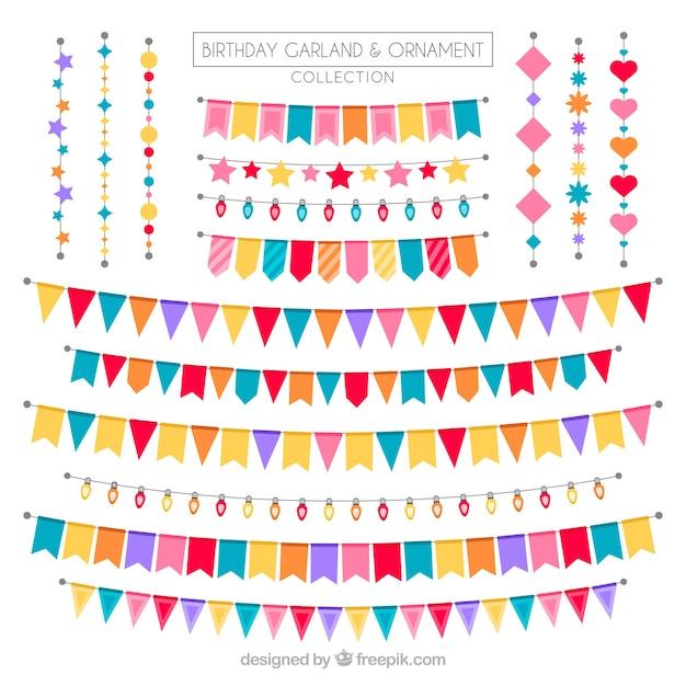 素晴らしいデザインの誕生日の花輪のセット 無料ベクター