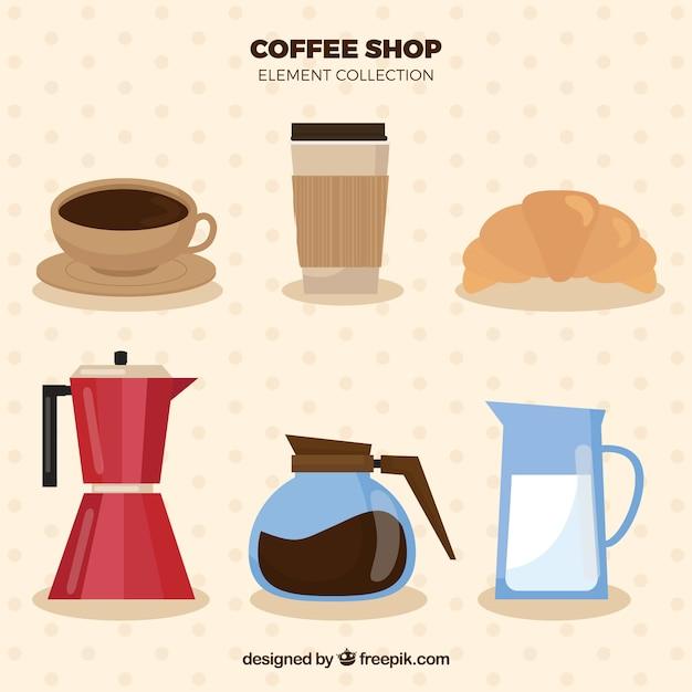 Коллекция пункт плоский кофе Бесплатные векторы