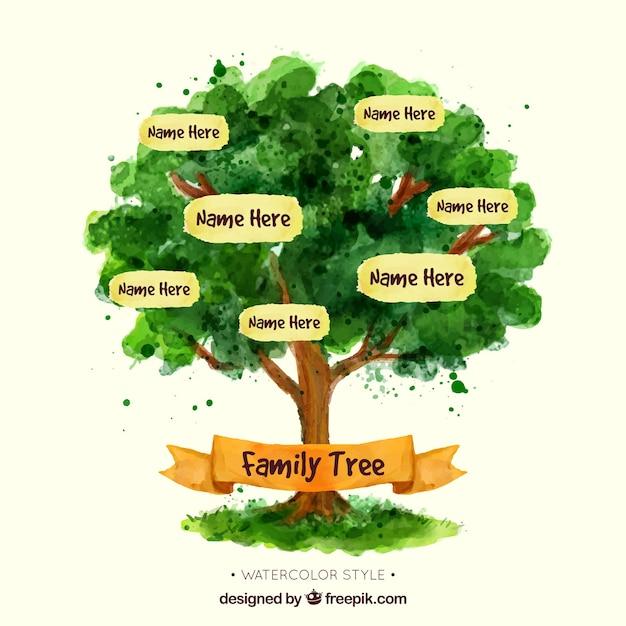 水彩画のスタイルで素晴らしい家族の木 無料ベクター
