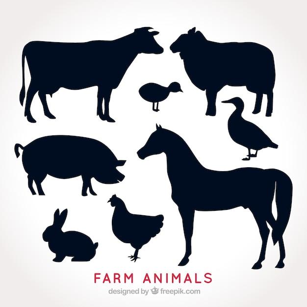 農場の動物のシルエットのパック 無料ベクター