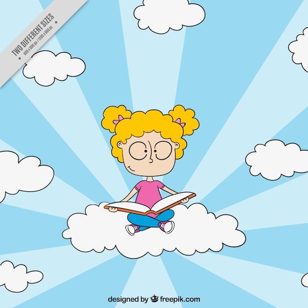 女の子の背景雲に座って本を読んで 無料ベクター