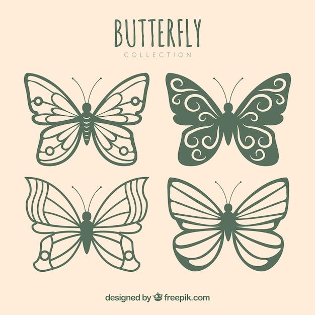 異なるデザインのかわいい蝶のコレクション 無料ベクター