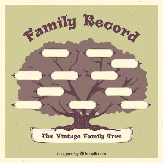 レトロなスタイルに大きな家族のツリー 無料ベクター