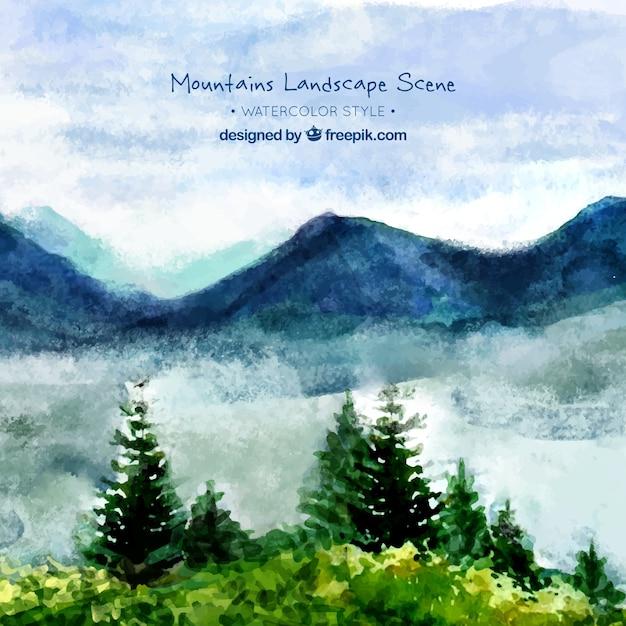 山と松と水彩風景の背景 無料ベクター