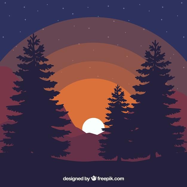 夕暮れ時の風景の背景 無料ベクター