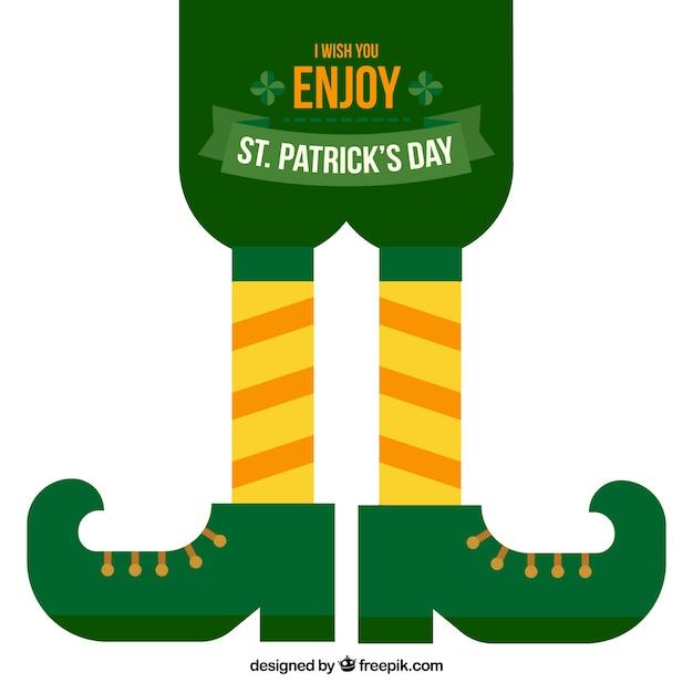 聖パトリックの日のレプラコーンの靴とフラット背景 無料ベクター