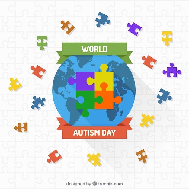 カラフルなパズルで世界の背景 無料ベクター