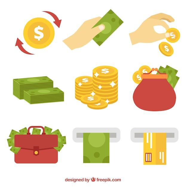 Набор денег и монет элементов Бесплатные векторы