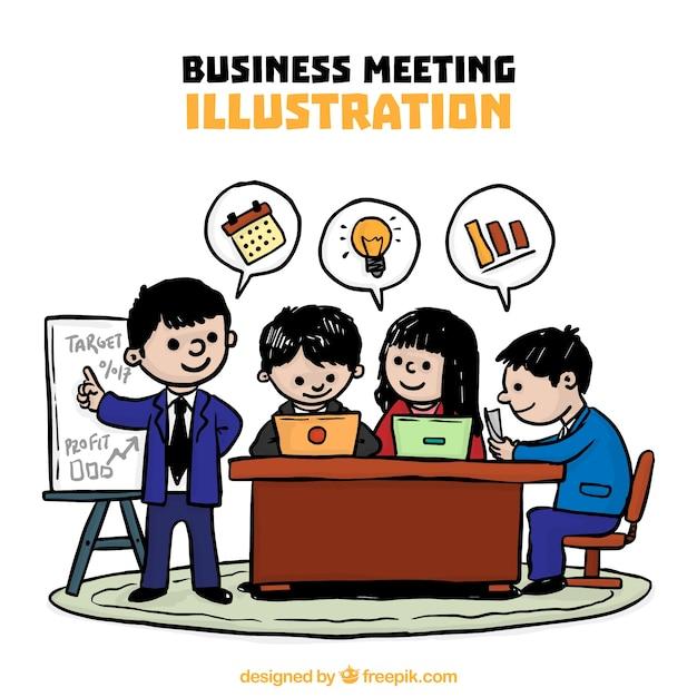 手描きビジネスミーティングのイラスト ベクター画像 無料ダウンロード
