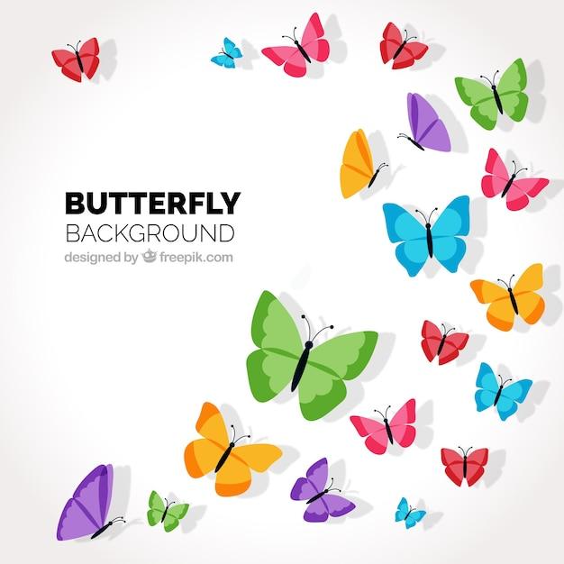 色の蝶が飛んで装飾的な背景 無料ベクター