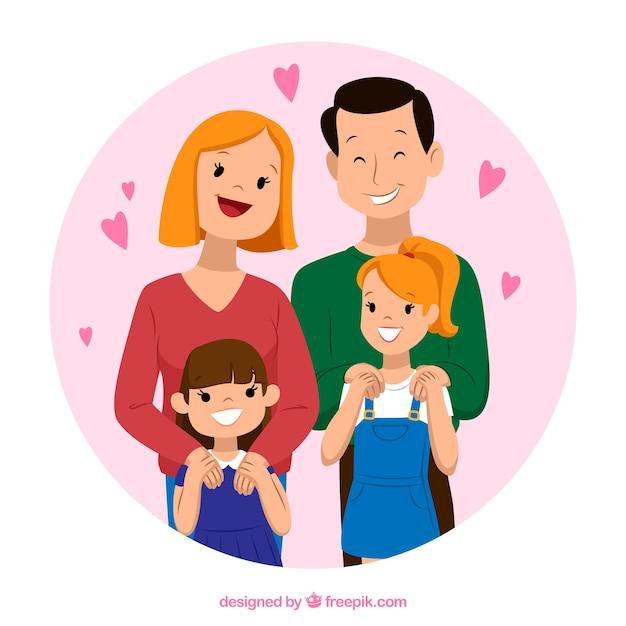 ヴィンテージスタイルで素敵な家族の背景 無料ベクター