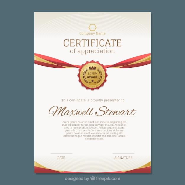 Роскошный сертификат с золотыми и красными деталями Бесплатные векторы