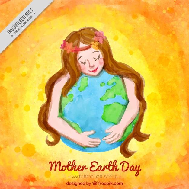 地球を抱いた女性のかわいい水彩画の背景 無料ベクター