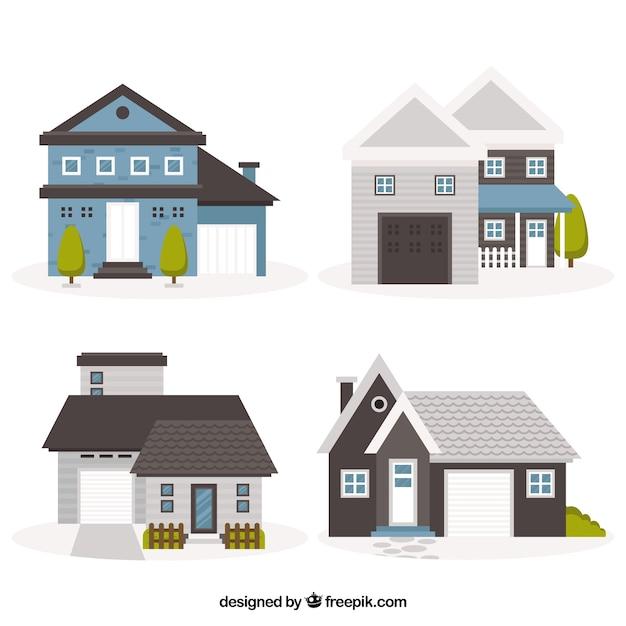 Набор из четырех старинных домов в плоском дизайне Бесплатные векторы