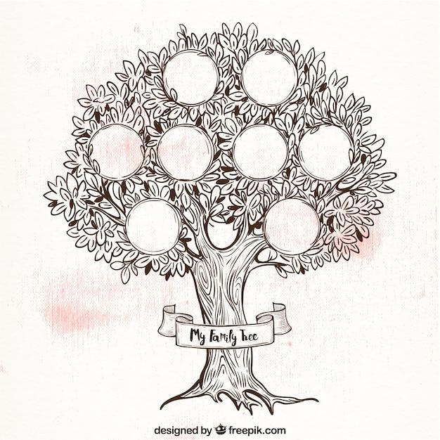 レトロなスタイルで素晴らしい家族の木 無料ベクター