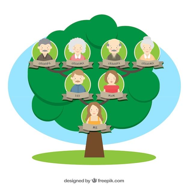 フラットなデザインの素晴らしい家族の木 無料ベクター