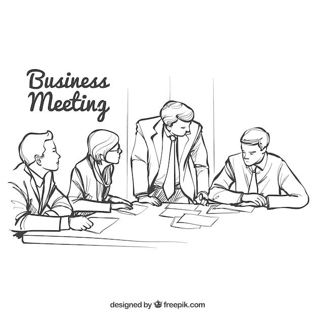 ビジネスミーティングのスケッチ 無料ベクター