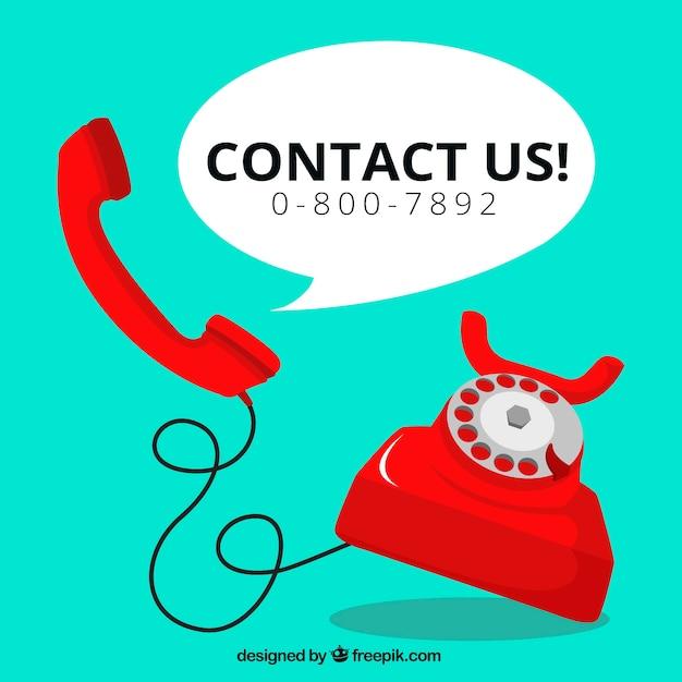 Красный телефон фон с текстом