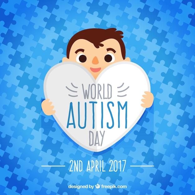 世界自閉症の日のパズルのピースの青色のパズルのピース 無料ベクター