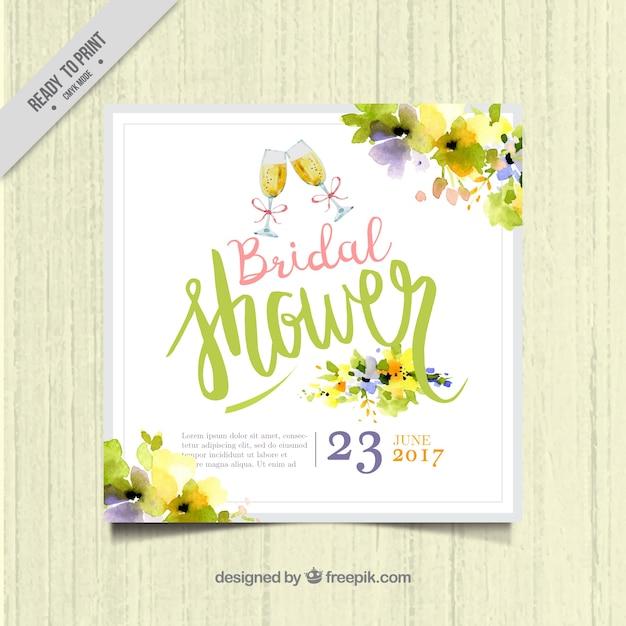 水彩花とかわいい独身招待状テンプレート 無料ベクター