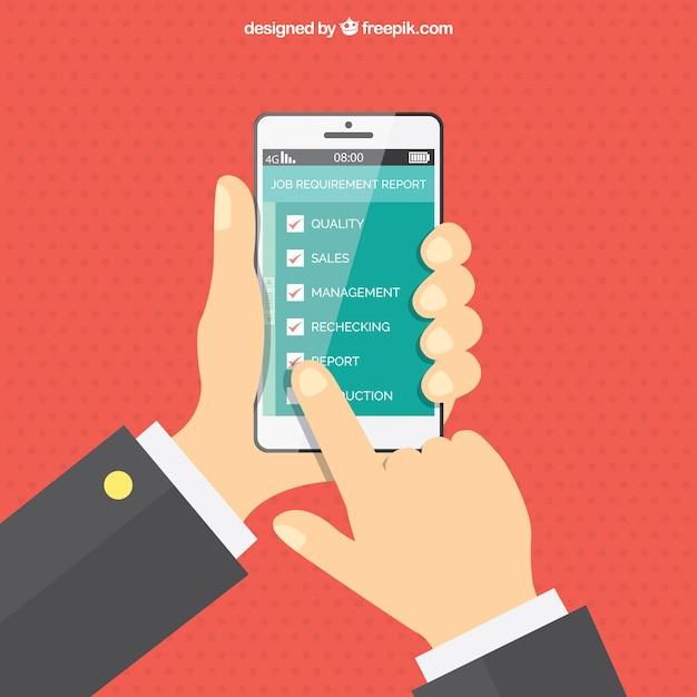 携帯電話を使って手で点線の背景 無料ベクター