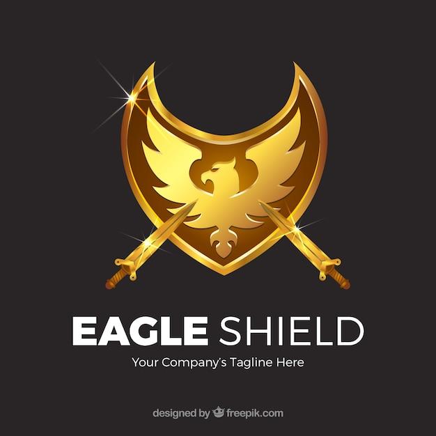 Фон золотого орла щит с мечами Бесплатные векторы