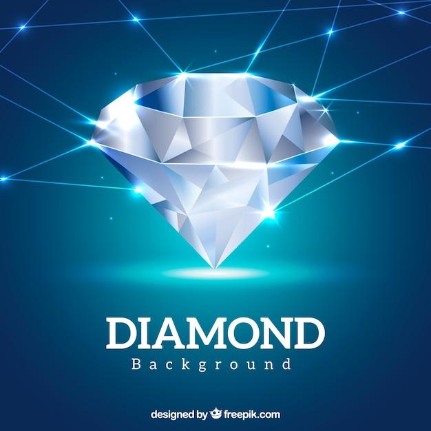 光沢のあるダイヤモンドや線と青の背景 無料ベクター